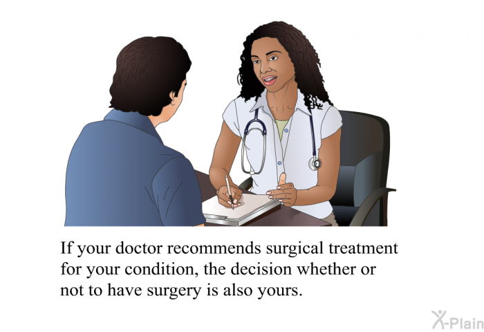 If your doctor recommends surgical treatment for your condition, the decision whether or not to have surgery is also yours.