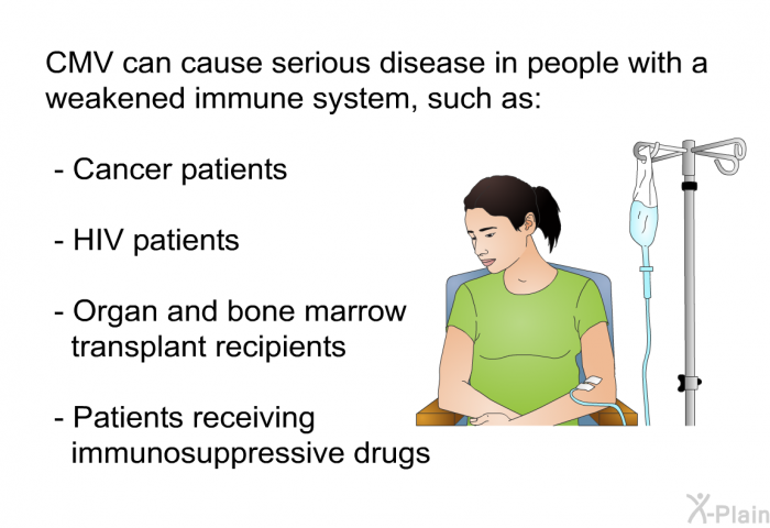CMV can cause serious disease in people with a weakened immune system, such as:  Cancer patients HIV patients Organ and bone marrow transplant recipients Patients receiving immunosuppressive drugs