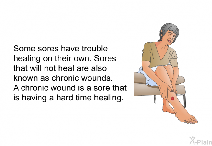 Some sores have trouble healing on their own. Sores that will not heal are also known as chronic wounds. A chronic wound is a sore that is having a hard time healing.