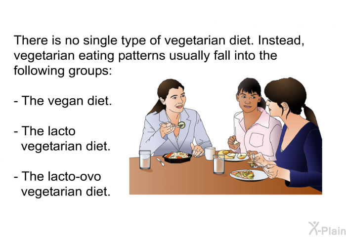 There is no single type of vegetarian diet. Instead, vegetarian eating patterns usually fall into the following groups:  The vegan diet. The lacto vegetarian diet. The lacto-ovo vegetarian diet.