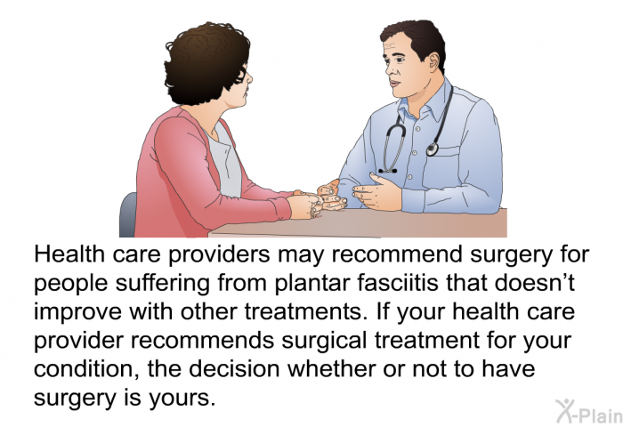 Health care providers may recommend surgery for people suffering from plantar fasciitis that doesn't improve with other treatments. If your health care provider recommends surgical treatment for your condition, the decision whether or not to have surgery is yours.